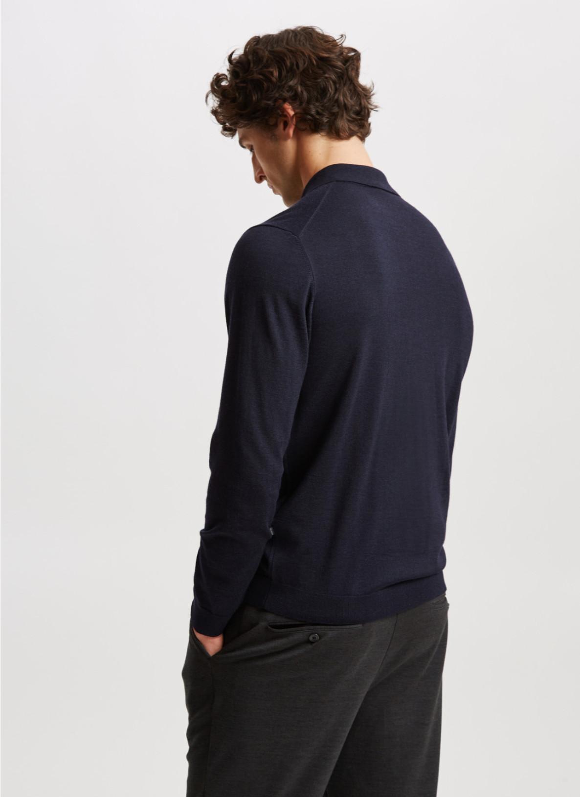 Pullover Polokragen, Knopf 1/1 Arm, NavyRückansicht