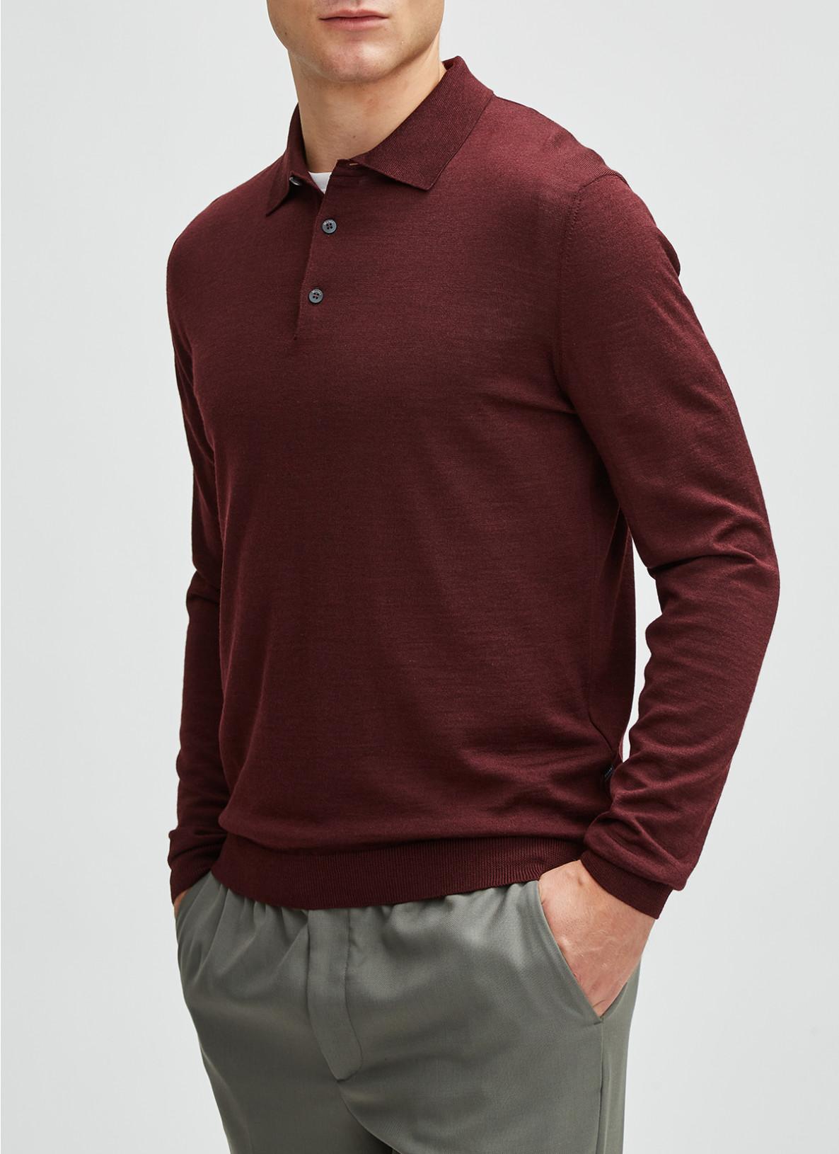Pullover Polokragen, Knopf 1/1 Arm, Dark BerryFrontansicht