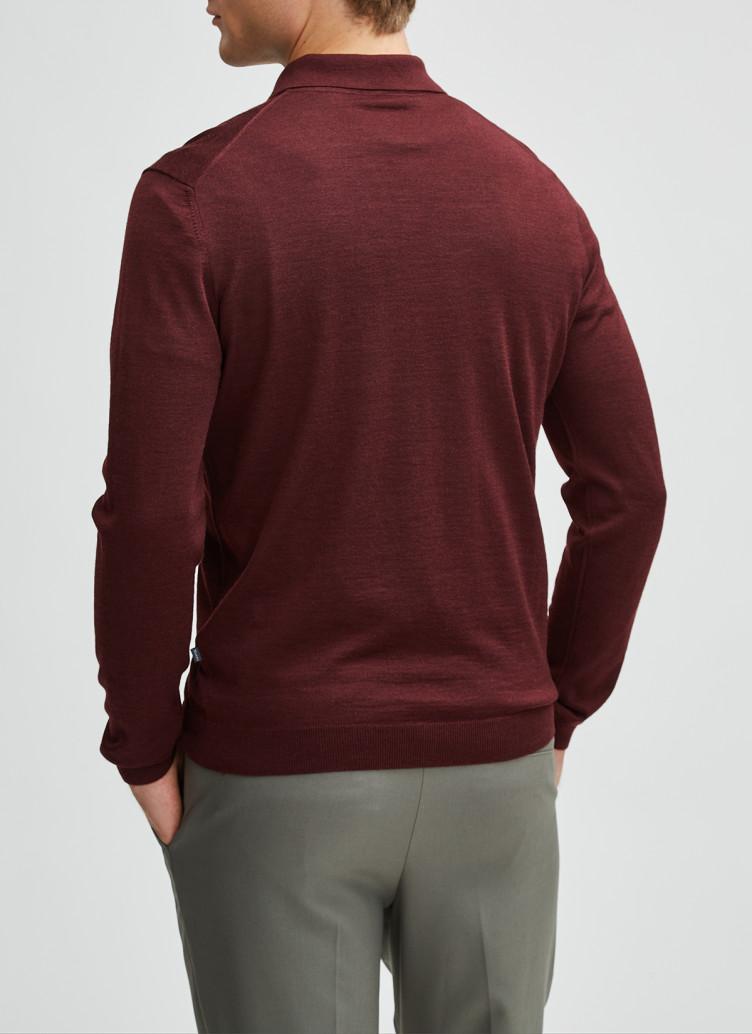 Pullover Polokragen, Knopf 1/1 Arm, Dark Berry Rückansicht