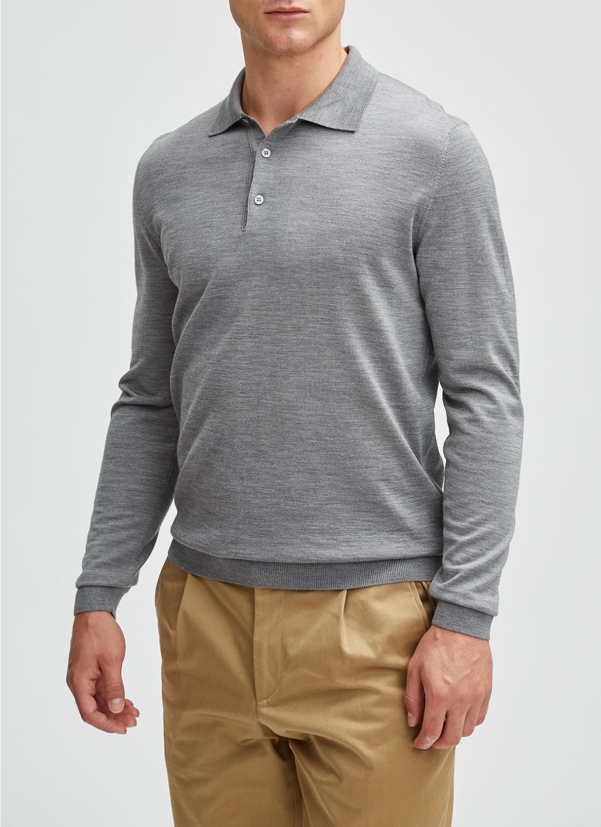 Pullover Polokragen, Knopf 1/1 Arm, Mercury GreyDetailansicht 1
