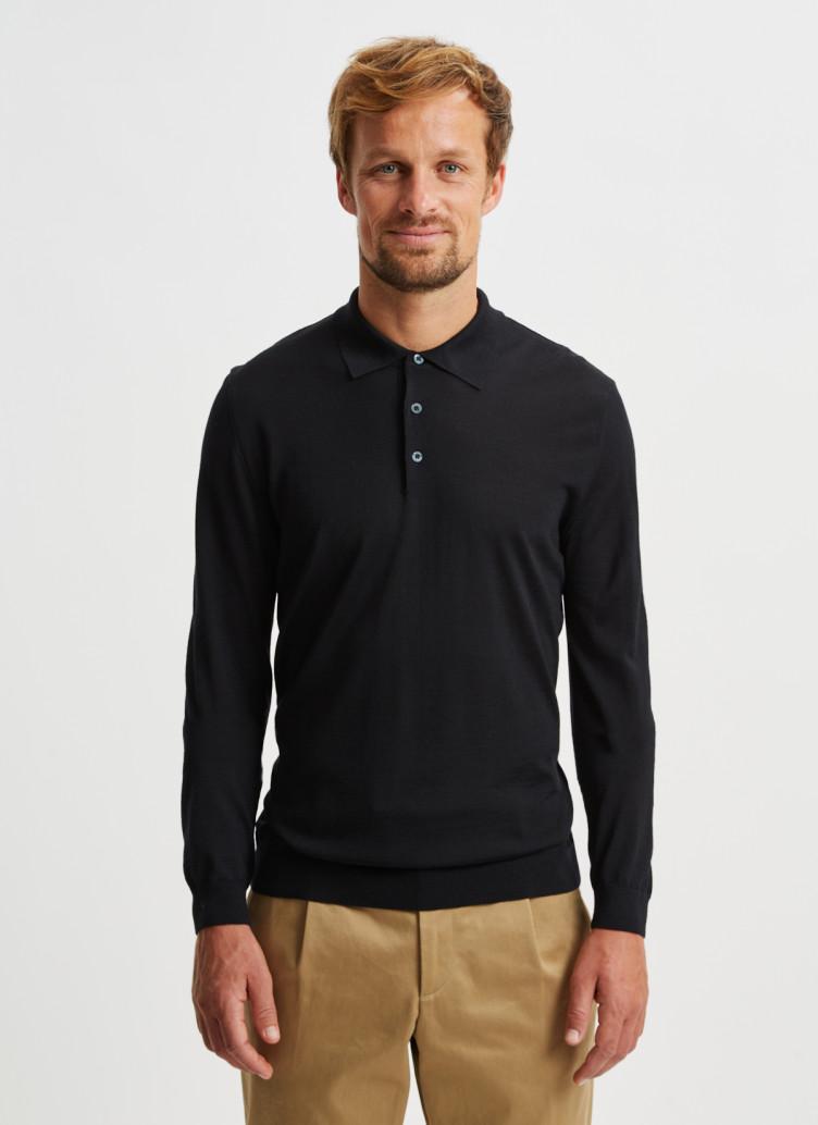 Polokragen Pullover Merino Silk Cashmere / Pullover Polokragen, Knopf 1/1 Arm