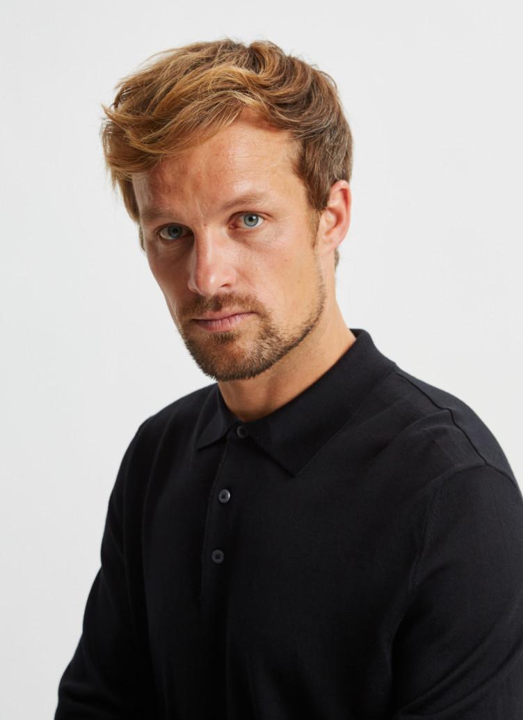 Pullover Polokragen, Knopf 1/1 Arm, Black Detailansicht 2