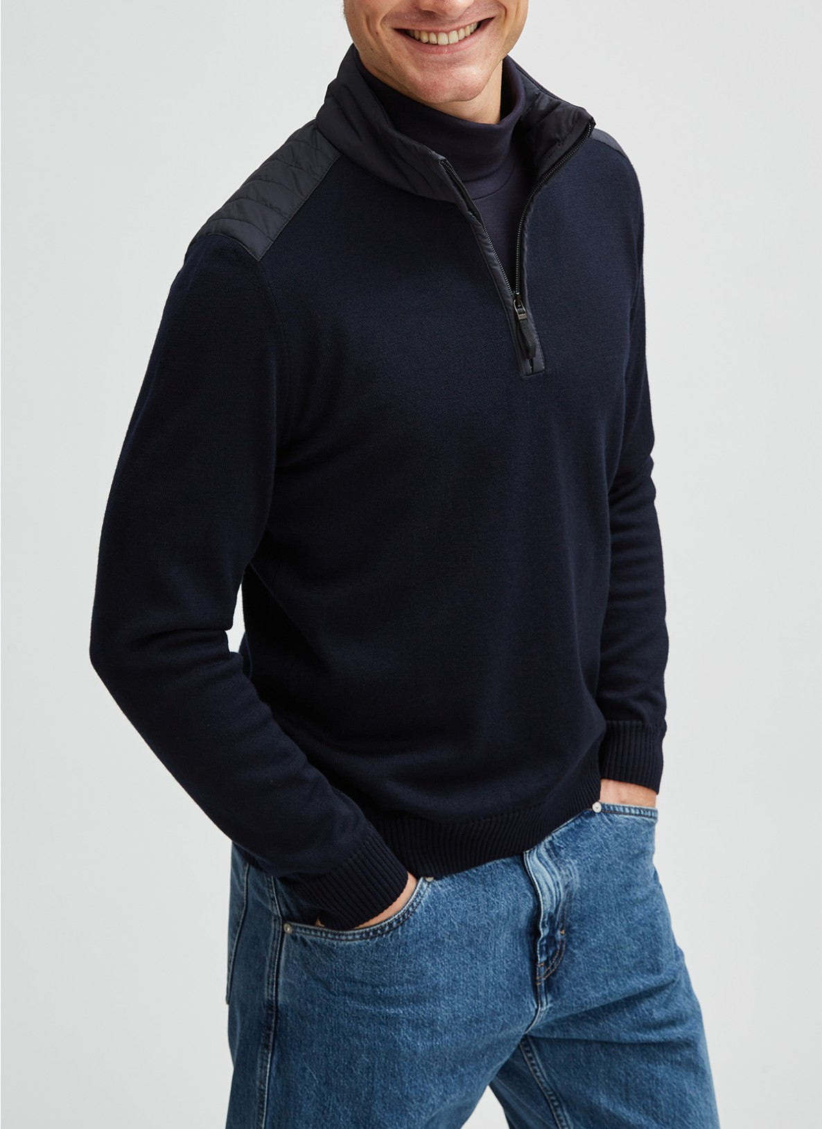 Pullover Troyer 1/1 Arm, Navy Frontansicht