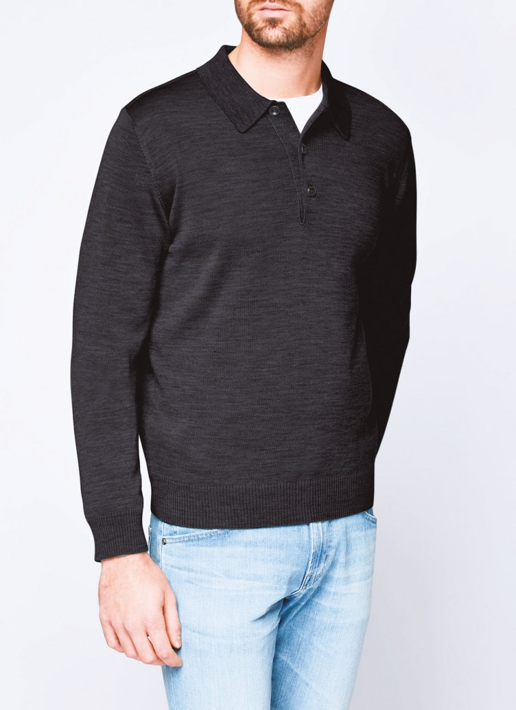 Pullover, Polo-Neck, Anthrazit Frontansicht