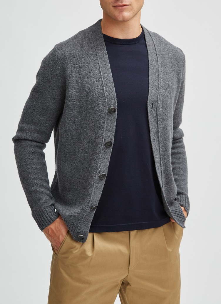 Strick Cardigan 1/1 Arm, Charcoal Frontansicht