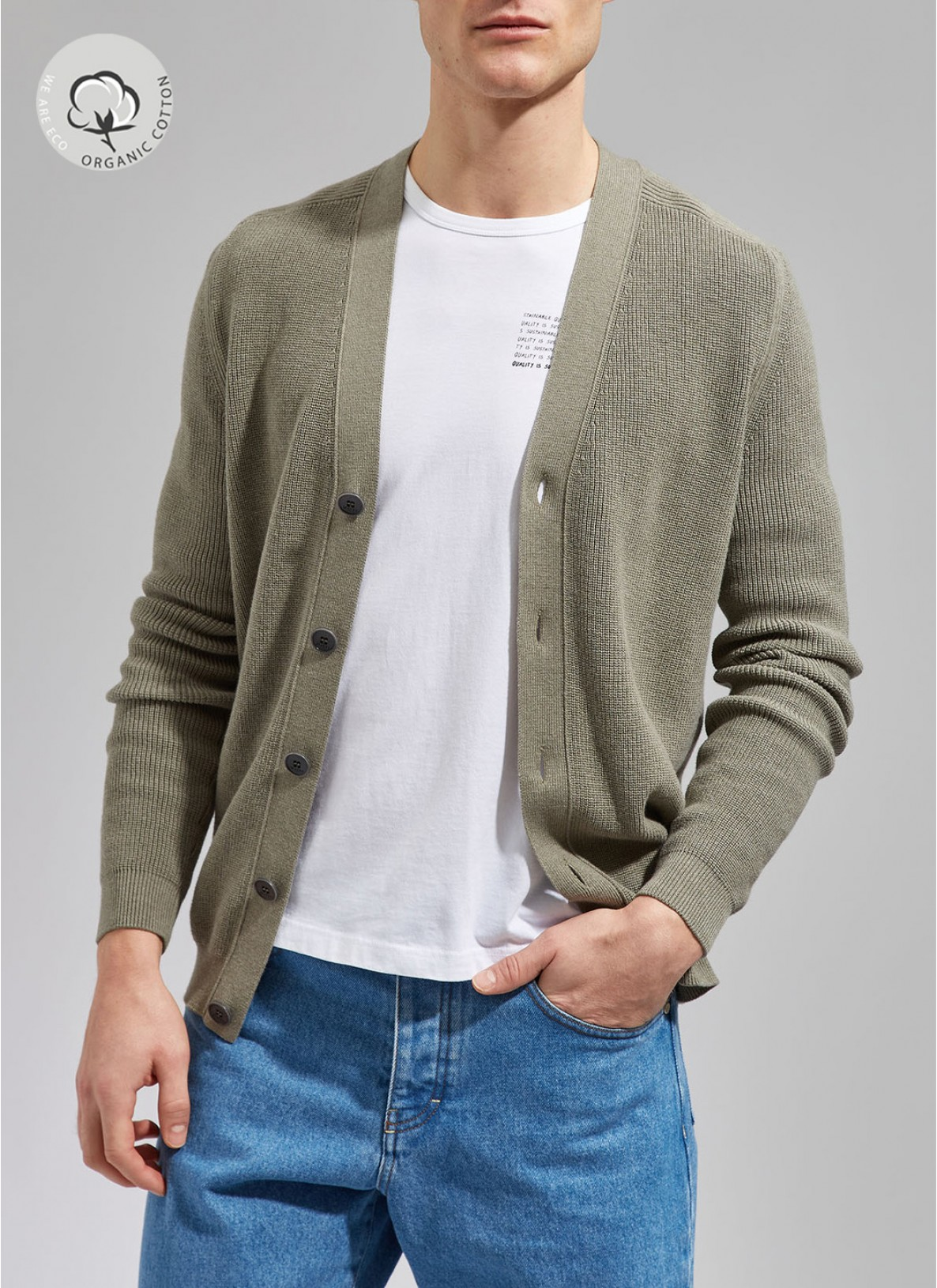 Strick Cardigan 1/1 Arm, Army OliveFrontansicht
