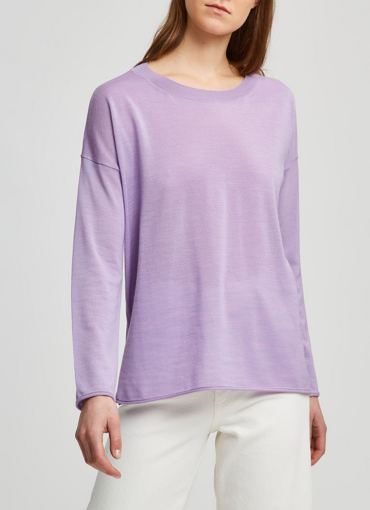 Pullover Rundhals 1/1 Arm, Frosted Lavender Frontansicht